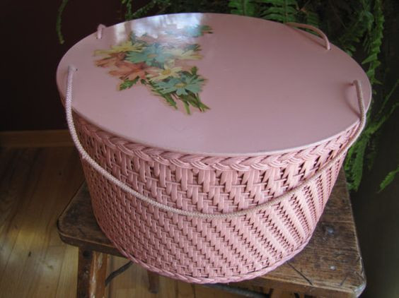 Vintage Round Pink Sewing Basket by smileitsvintage on Etsy, $28.00