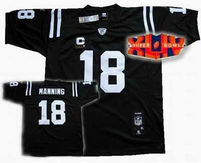 2010 super bowl XLIV jersey Indianapolis Colts #18 Peyton Manning black, wholesale price $22.00