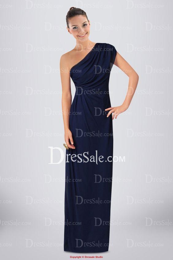 Elegant Chiffon Column Bridesmaid Dress with One-shoulder Neckline and Pleats
