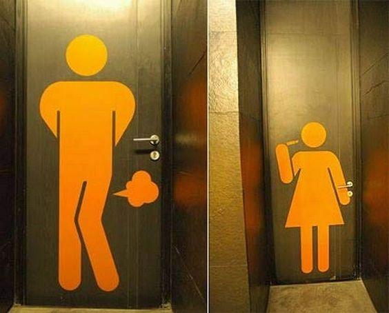 O que homens e mulheres fazem no banheiro (puns X maquiagens):
