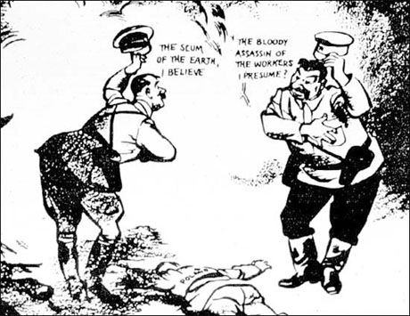 Hitler and Stalin met near Poland's dead body ¬ – the caricature on the Molotov–Ribbentrop Pact