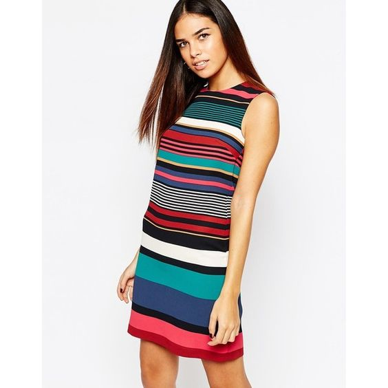 Warehouse Stripe Knit High Neck Dress (£21) ❤ liked on Polyvore featuring dresses, multi, tall dresses, knit dress, high neckline dress, zip dress and stripe knit dress
