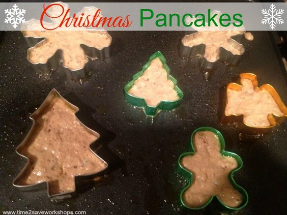 25 Days of Christmas Fun: Cookie Cutter Christmas Pancakes - www.time2saveworkshops.com #recipe #christmas