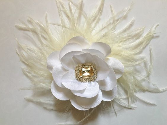 Fancy White Chiffon Feather Fascinator  from my Etsy shop https://www.etsy.com/listing/289681233/ivory-flower-feather-fascinator-bridal