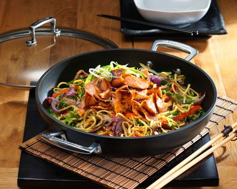 Recipe: http://www.foodnetwork.com/recipes/teriyaki-salmon-stir-fry ...