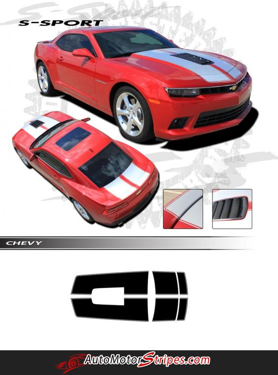 """Vehicle Specific Style Chevy Camaro S-Sport """"OEM Factory Style"""" Racing and Rally Stripes Kit Year Fitment 2014-2015 : Fits SS Models Only Contents Hood, Trunk,"""