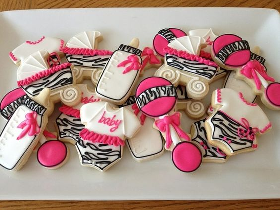 Zebra print baby shower cookies by Custom Cakes By Tracee.