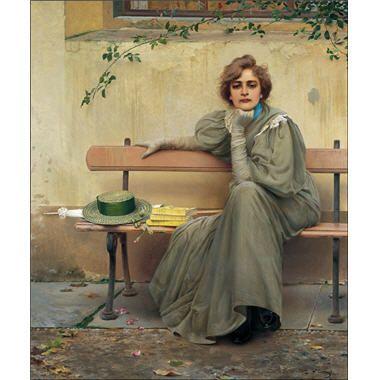 """""""Rêves"""", 1896 Vittorio Matteo Corcos -  Certains détails suggèrent l'automne, tandis que la rose, qui symbolise l'amour ou l'innocence, est fanée. Les livres déposés sur le banc semblent participer également à ce changement de saison. La lectrice n'a, contrairement à ce que suggère le titre, pas un regard de rêveuse, mais un regard pleinement conscient, et une attitude énergique."""