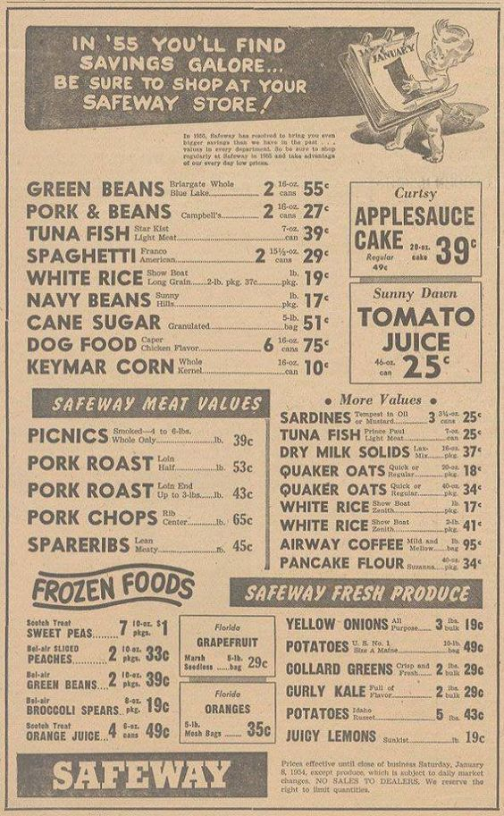 "1955 Safeway Ad. - Great ""Diner"" typography look. Good reference for a vintage style diner menu."