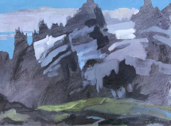 Patterns jump out of glaciers and fill snow patches, as interlocking warm and cool greys zip through scree and shale. Light moves across a thicket of evergreens. The first time Dad and I went up th...