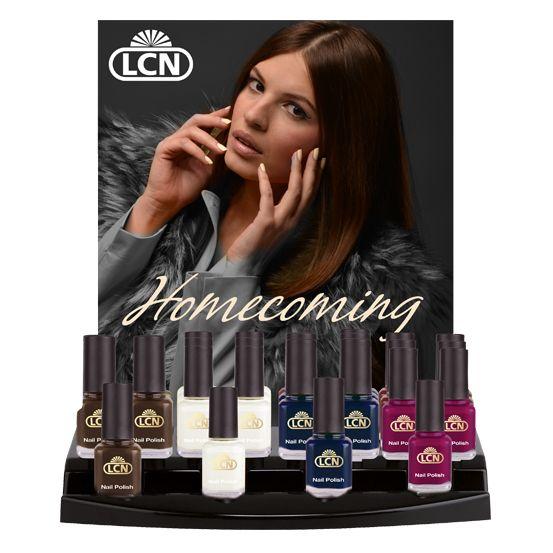 """Display Nail Polish """"Homecoming""""  Inhalt: 4 Nagellacke """"Homecoming"""", 8 ml. Sie erhalten das Display bestückt mit jeweils einem Tester und je 6 Stück Verkaufsware inkl. einem Poster """"Homecoming"""", DIN A1."""