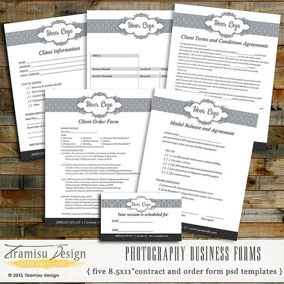 Photography Forms Templates Contracts for by PhotographerTemplate - new business client information template