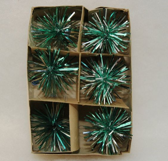 1960 christmas ornaments | 1960's Tinsel Christmas Ornaments Set of 6 by MyHeirloomCharms