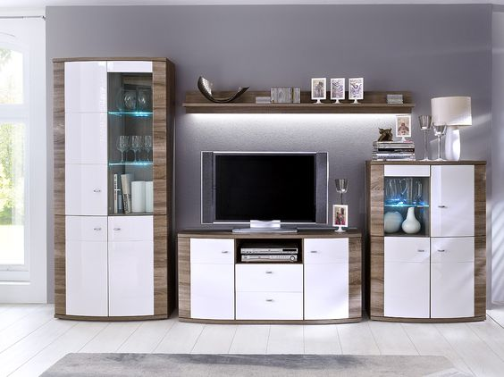 Wohnwand Blue Monday 4tlg Weiß Hochglanz   Trüffel passend zum - möbel wohnzimmer modern