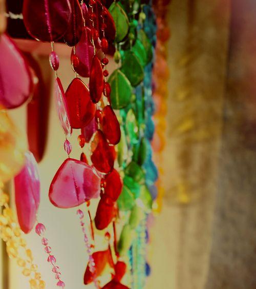 Loving this retro rainbow plastic bead curtain | Tumblr