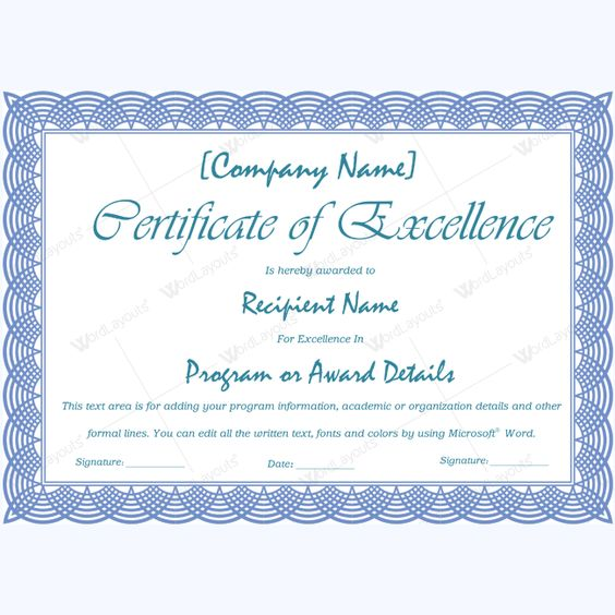 Downloadable Excellence Certificate Excellence