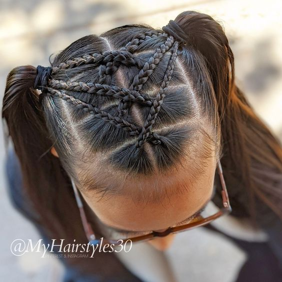 Criss Cross Braids & side Ponytails - 05/20/2020. Pinterest & Instagram: #MyHairstyles30