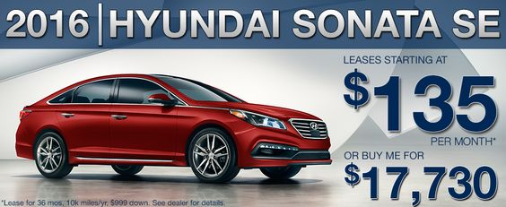 2016 Hyundai Sonata SE.  Leases start at a low $135 per month or purchase for $17,730.  www.causleyhyundai.com