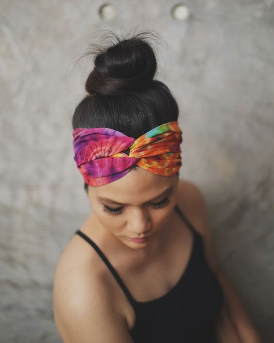 Day lily Tie dye  Hippie Turban headband  100% by RumraisinA
