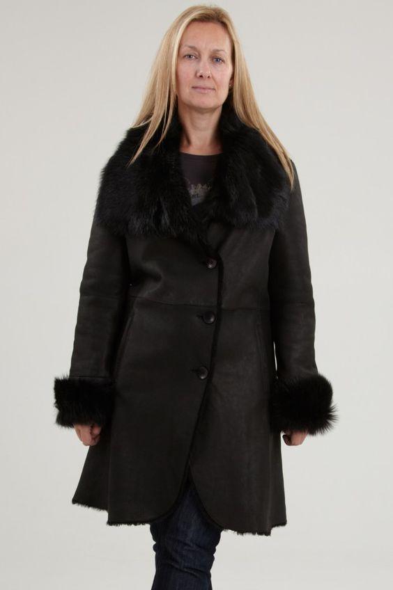 Womens Shearling Coats. Our Black NIKITA is a handmade luxury 3/4