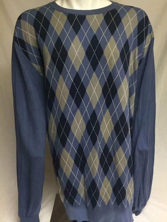 King Size XXXXXXLT Blue Argyle Cotton Sweater 6XLT #KingSize #Crewneck