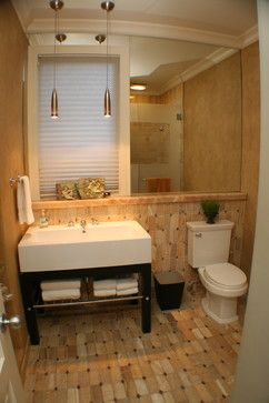 This 1 2 bath has a lot of great design to it ledge under - 1 2 bath ideas ...