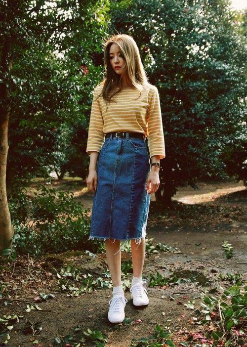 estilo casual com saia jeans lacradora