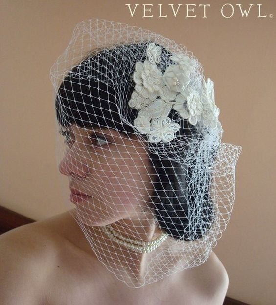 Elena Ivory Alencon lace flower fascinator and detach by VelvetOwl, $89.00