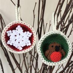 Christmas Bauble Ornaments, Snowflake & Robin