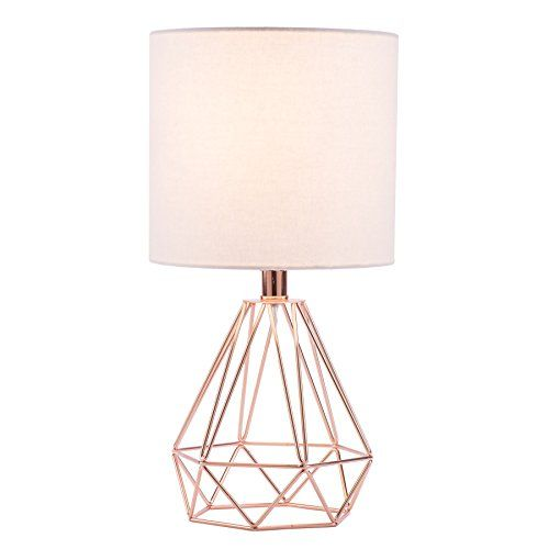 Co Z Modern Table Lamp With White Fabric Shade Rose Gold Desk Lamp With Hollowed Out Base Inches In He Gold Desk Lamps Modern Table Lamp Gold Bedroom Decor