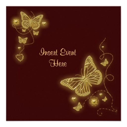 Brown gold butterfly elegant invitation