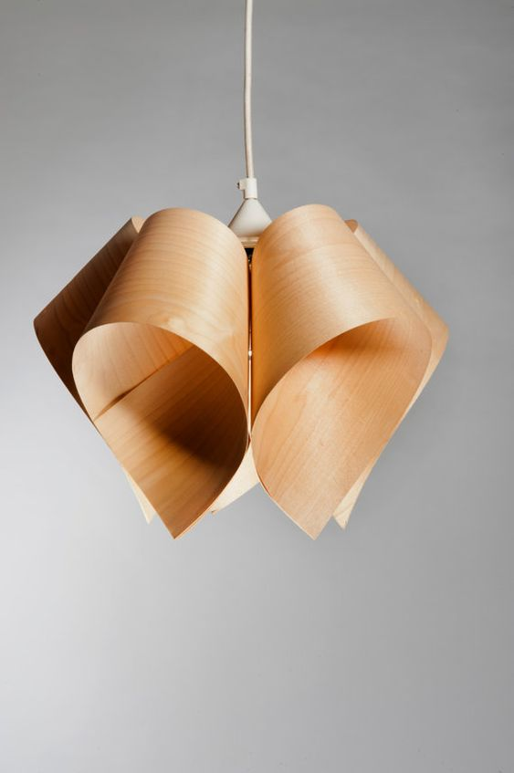 Veneer Lamp Ceiling Mounted Handmade Maple Veneer Lamp A