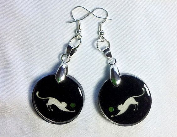 Cat Earrings Glass-Like Transparent Clear Dangle - Round Circle Black - Swarovski Crystals