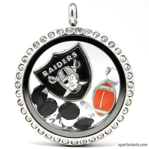 Oakland Raiders charm locket necklace from SportLockets.com.  Includes NFL licensed charm, football charm and Swarovski crystals in team colors.  Available in silver, black or gold with your choice of chain.