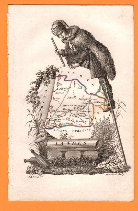 BELLE PETITE GRAVURE ANCIENNE  début XIXème  LANDES  Blanchard sculp. Extraite d'un livre (Les jeunes voyageurs), elle est à recouper et à encadrer
