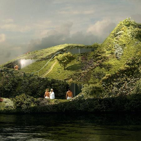 Floating Island spa by Anne Holtrop, Studio Noach, and Patrick Blanc
