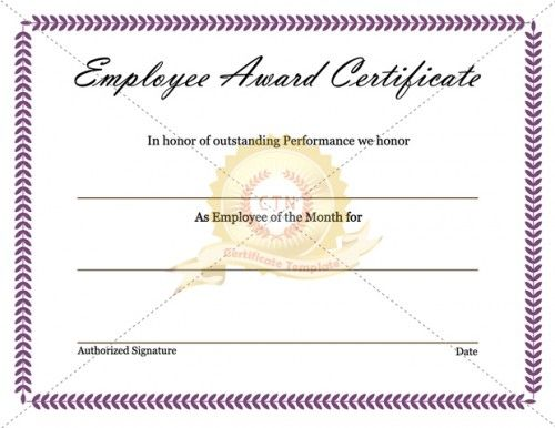 Employee Appreciation Award Certificate-office Job Work ...