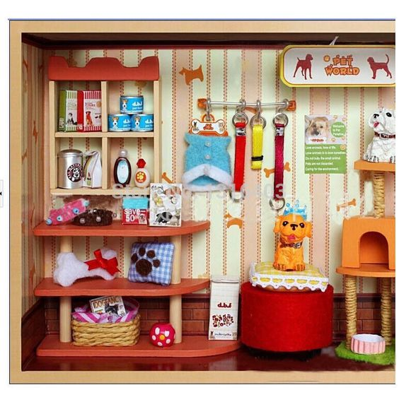 Pet shop mundial diy dollhouse miniture mu ecas muebles de - La casa de madera muebles ...