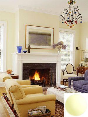 Pale yellow living room: Glidden Candle Glow - Loving yellow nursery