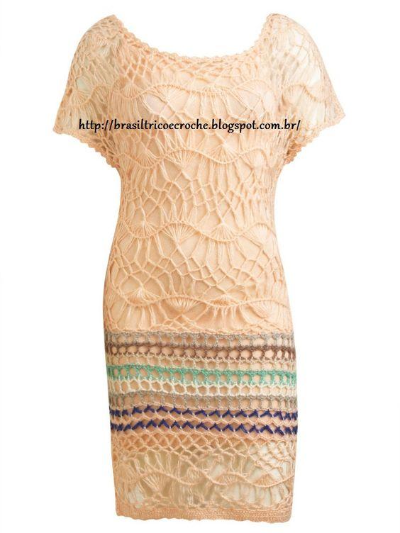 Brasil Tricô & Crochê - Handmade: vestido grampo pessego