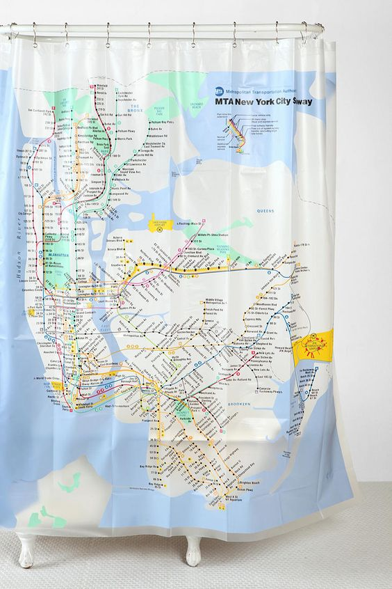 new york city subway shower curtain trips urban