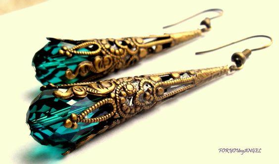 Wunderschöne bronze Ohrhänger *Antike - Artica TÜRKIS* Ohrringe im Vintage-Style!    Edel, modern, trendy...