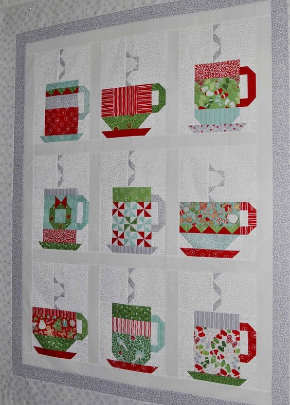 Hot Chocolate Quilt. Free pattern. Table runner and placemats aldo: