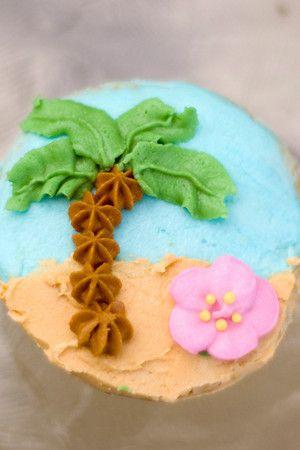 Decorazione cupcake spiaggia tropicale
