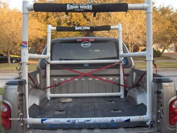 Homemade PVC kayak rack for pickup bed