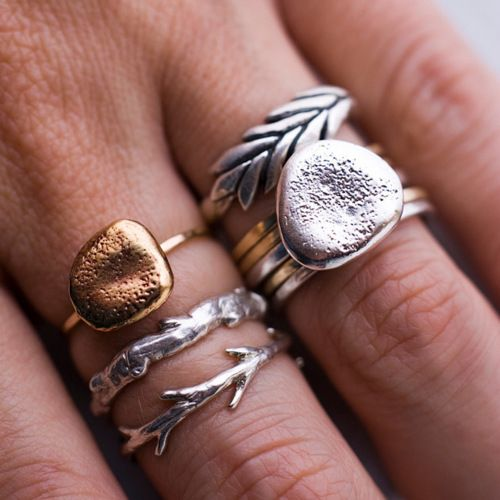 twig and stone rings