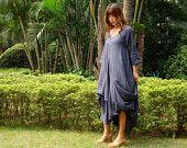 Linen Dress / Women's Linen Dress / Handmade Dress / Linen Dress / Blue / 3/4 Sleeves Dress / Summer Dress / Loose Fitting / Maternity Dress