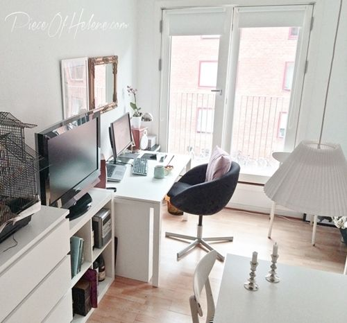 office area in tiny studio apartment with ikea melltorp table skruvsta chair expedit bookcase. Black Bedroom Furniture Sets. Home Design Ideas