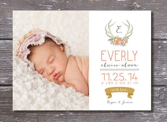 Floral AntlerWoodland Baby Birth Announcement – Announce Birth of Baby Girl