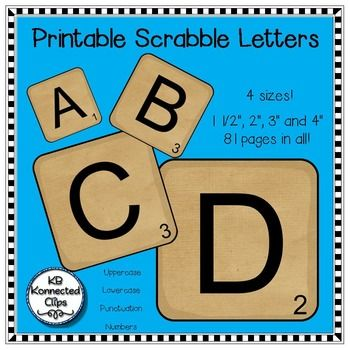 Time saver - Printable Scrabble Letters! $Just print and laminate. EZ to cut! 4 sizes!!! Use for bulletin boards, word work, games and more. Loose a letter...no problem. Just print another. :)